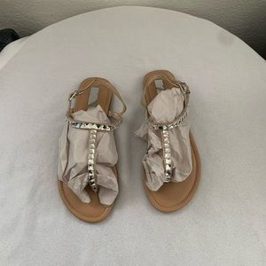 INC Ankle Strap Thong Crystal Glitter Flat Sandals